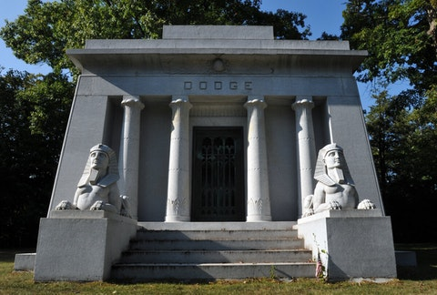 The Egyptian-style Dodge mausoleum in Detroit's Woodlawn Cemetery is the resting place of Dodge co-founders and brothers John Francis Dodge and Horace Elgin Dodge.